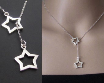 Stars Lariat Neckace, Lariat Necklace, Pendants, Sterling Silver Jewelry, Gift, Setting the stars for you
