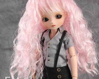 "Fatiao - New BJD Dollfie pukipuki brownie 3-4"" Doll curls Wig - Pink"