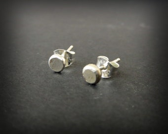 Distressed Dots- Sterling Silver Stud Earrings