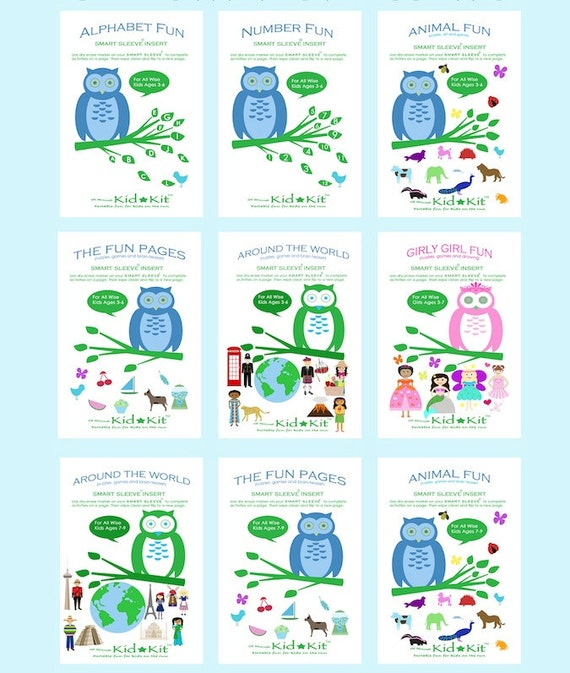 Kids Activity Booklets Specially Designed for Reusable Dry-Erase Smart Sleeve, Travel Games