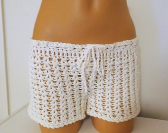 Crochet Shorts, Beach Wear, Crochet Boy Shorts, Cotton Bikini Cover-up shorts, beach shorts, swimsuit accessories, v-stitch design shorts