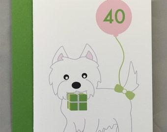 Westie (West Highland White Terrier Dog) Custom Birthday A2 Folded Card