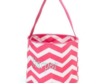 Personalized Chevron Easter Basket For Children of All Ages: Infants, Toddlers, Tweens Buckets Available in Multi Pink, Aqua, and Hot Pink