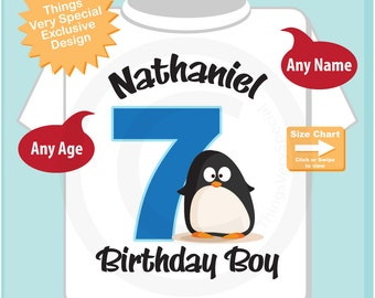 7th Penguin Birthday Shirt, Personalized Seventh Birthday Boy Penguin Theme Tee Shirt (01202015a)