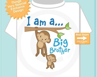 I am a Big Brother Shirt or Onesie, Personalized Big Brother, Monkey Shirt with Little Baby monkey (04072015k)