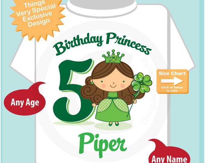 5th Birthday Personalized Irish Princess Tee Shirt any age, name  or hair color (03062015c)