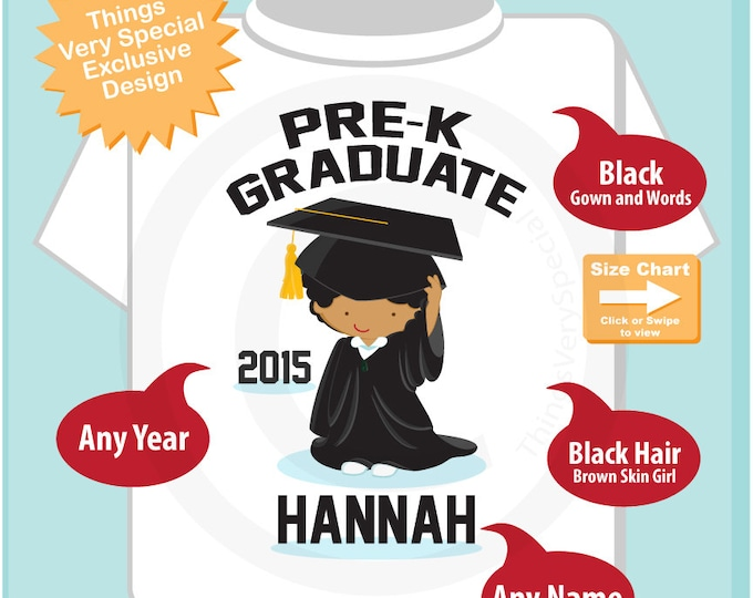 Pre K Shirt, Pre-Kindergarten Graduate Shirt, Personalized for your little girl with year, name and color (04142015c)
