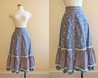 70s Gunne Sax Skirt - Vintage 1970s Skirt - Slate Blue Novelty Print Windmill Ships Floral Peasant Skirt XS S - Dutch Treat