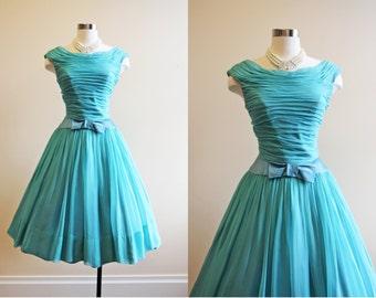 50s Dress - Vintage 1950s Dress - Aqua Blue Chiffon Princess Wedding Party Dress S - Promenade