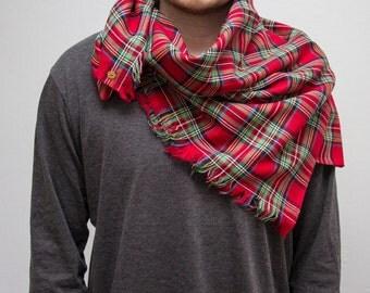 Tartan Scarf.  100% Pure Cotton.  Royal Stewart.  Scottish Tartan Registry.  Red Cat.