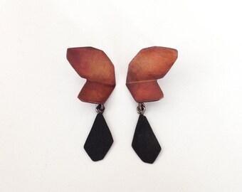 Red Butterfly Earrings, Butterfly Dangle Earrings, Statement Dangle Earrings, Black and Gold Jewelry, Industrial Jewelry