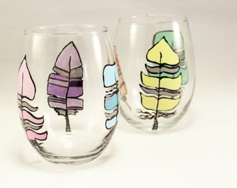 Colorful feathers, Hand painted stemless wine glasses, feather wine glasses, set of 2