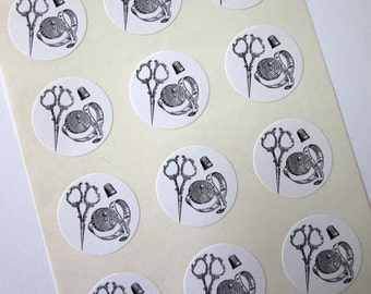 Vintage Sewing Notions Stickers One Inch Round Seals