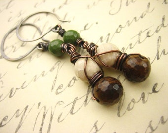 Chocolate brown green turquoise sterling Silver Earrings long dangle natural stone copper hewelry earrings rustic mixed metal