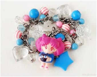 Sailor Moon Chibiusa Charm Bracelet, Stainless Steel, Pink, Blue - Magical Girl, Kawaii Jewelry
