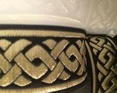 35 mm  CELTIC KNOT Black and Gold Jacquard Ribbon Trim Embellishement