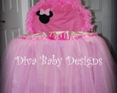 Minnie Mouse High Chair Cover & Matching Tulle Skirt Pink Polka dot