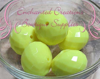 26mm Neon Yellow Faceted Rondelle Beads 6pcs