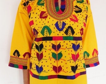 Mexican Yellow Top Blouse Colorful sewn and Embroidered Handmade Special Collection Medium