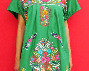 Mexican Green Mini Dress Birds Embroidered Handmade Very Elegant Small