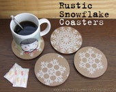 Snowflake Wood Drink Coasters Set of four - Rustic Laser Cut Coasters S/4 - Handmade Gift Coasters - Rustic Decor Drink Coasters