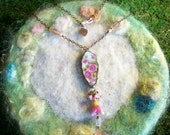 Recycled Broken China Necklace, Pink Ros Bush, Vintage China