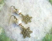 Snowflake Earrings, Holiday, Winter, Christmas White Pearl Earrings