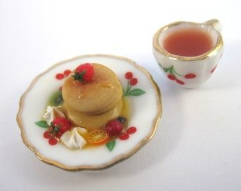 Dollhouse Miniature Food Pancakes and Tea in 12th Scale