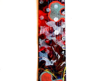 Hand Made Hand Painted Collaged Abstract Artsy Bookmark Multicolored #2