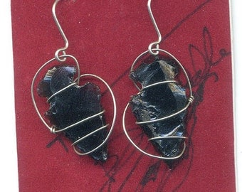 Handmade Native American EARRINGS Sterling and Obsidian
