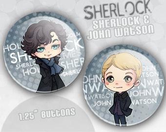 BBC Sherlock and John Buttons
