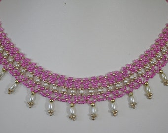 Classic Pink and Pearl Necklace