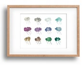 art print Rain, waterclor clouds, cool calm colors, fun fresh clouds print, whimsical art, fresh home decor.