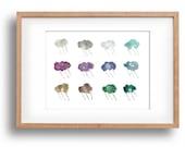 art print Rain clouds, watercolor clouds, cool calm colors, fun fresh clouds print, whimsical art, fresh home decor.