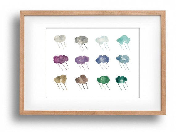 art print Rain clouds, watercolor clouds, cool calm colors, fun fresh clouds print, whimsical art, fresh home decor.