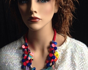 Colorful Multi Strand Wood Fish Bead Bib Necklace cruise beach party yacht