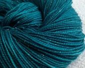 Sparkle Toes Sock Yarn Mermaid's Curse Hand Dyed sockyarn 438 yards dark teal turquoise superwash merino nylon stellina fingering