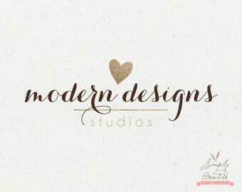 Logo Design - Premade Logo - Glittery Heart Golden Custom Premade Logo - Photography Business Logo - Logo Modern Design - Golden Glitter