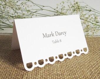 Blank Wedding Escort Cards (100) / Lace Edge / Wedding Placecards / Tent Style/ Seating Cards/ Escort Card/ Free Standing