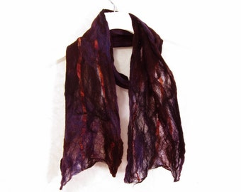 Cobweb Felted Scarf Wool Scarf Gift for Her Winter Scarf Winter Accessory Fall Scarf Womens Scarf Brown Scarf in Brown Purple Black OOAK