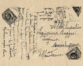 Vintage Foreign Script Carte Postale Digital Background Postcard Fancy Words Postal Stamps Image Transfer Instant Download Printable