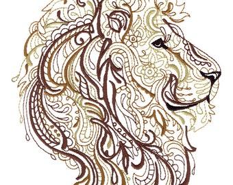 LION - Machine Embroidered Quilt Blocks (AzEB)