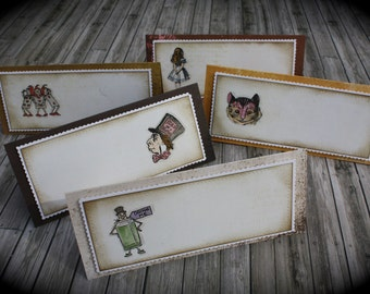 VINTAGE Alice in Wonderland/Mat Hatter Placecards - Set of 5