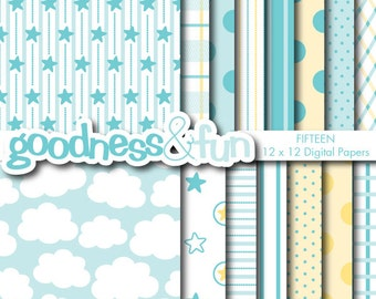 Buy 2, Get 1 FREE - Sweet Dreams Blue Papers - Digital Baby Shower Paper Pack - Instant Download