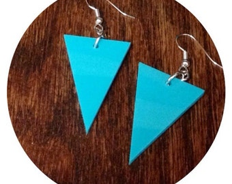 Triangle Earrings, Gift for Her, Turquoise Blue Acrylic Plastic, Dangle Earrings
