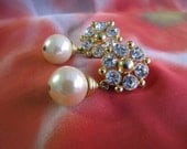 Vintage Pearl & Swarovski Crystal Drop Earrings / Bridal Pearl Earrings/ Evening Dress Earrings