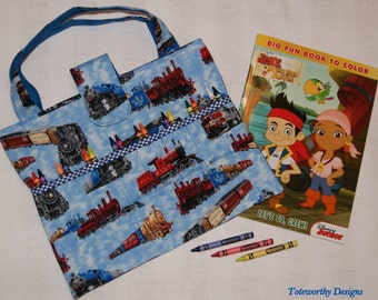 Kids Coloring Bag, Trains, Child Gift, Travel Tote for Children, Coloring Book and Crayons Caddy, Colored Pencils, Markers, Art Supplies