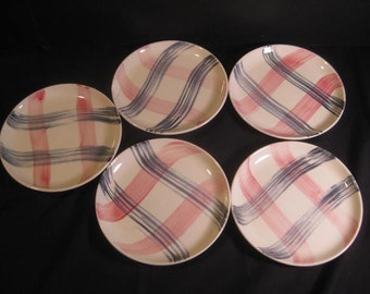 5 Retro Scotts Clan Pink & Gray Plaid Bread Salad Plates Saucer, Stetson, Marcrest Pink n' Charcoal, 1950s, 1960s,TheRetroLife