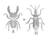CUSTOM PRINT - custom love bug linocut poster 12x16 w/ your initials