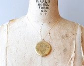 Victorian large gold filled locket with photos / antique gf 1900s monogrammed round locket necklace
